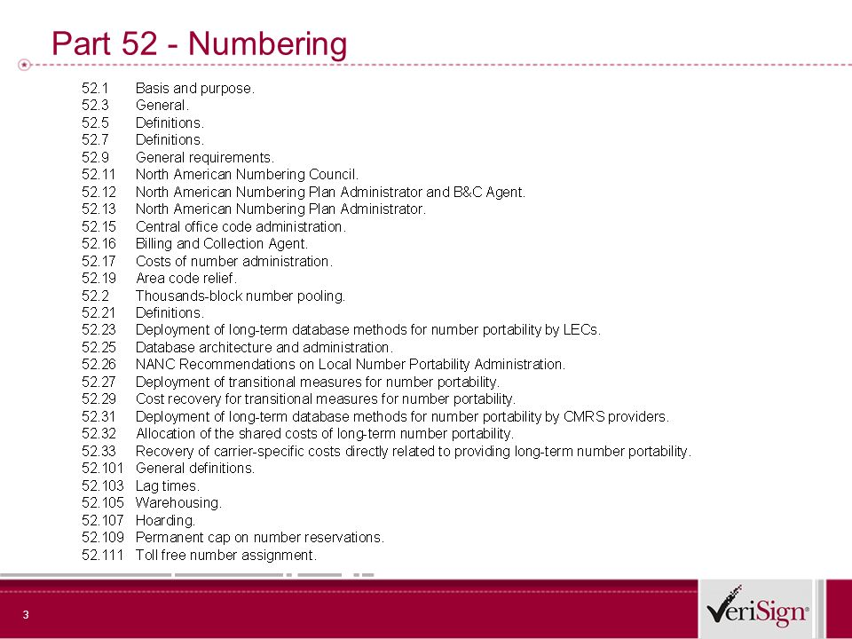 4 Numbering Dependencies: regulatory and operational + National Security and Critical Infrastructure Protection priority access during or after disasters (NS/EP) public safety emergency and law enforcement assistance (CALEA) network attack mitigation (NS/EP) + Consumer Requirements consumer emergency calls (E112/E911) consumer protection and privacy (Do Not Call; CANSPAM) authenticated caller or sender identification disability assistance (TRS) universal service + Competition and Settlements Requirements number portability (1996 Act) service interoperability (Computer III) intercarrier compensation (ICF) + Operations Requirements service provider coordination fraud detection and management default service and routing options transaction accounting