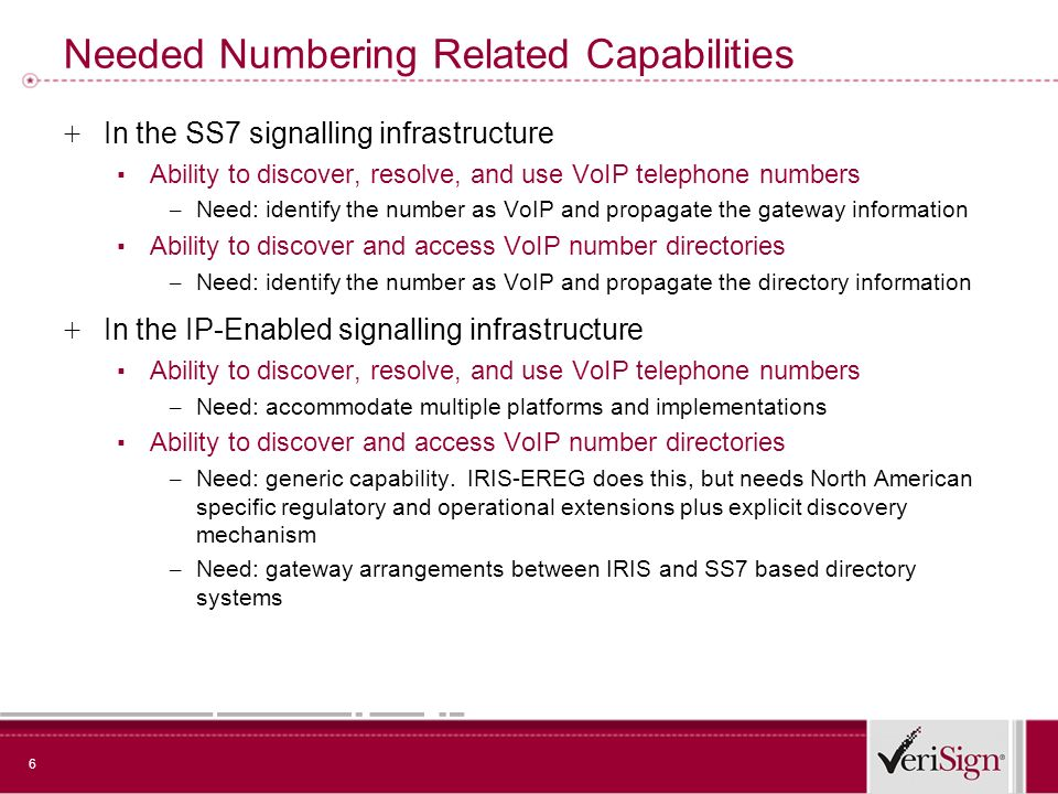 6 Needed Numbering Related Capabilities + In the SS7 signalling infrastructure Ability to discover, resolve, and use VoIP telephone numbers – Need: id