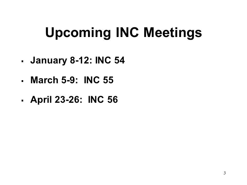 3 Upcoming INC Meetings January 8-12: INC 54 March 5-9: INC 55 April 23-26: INC 56