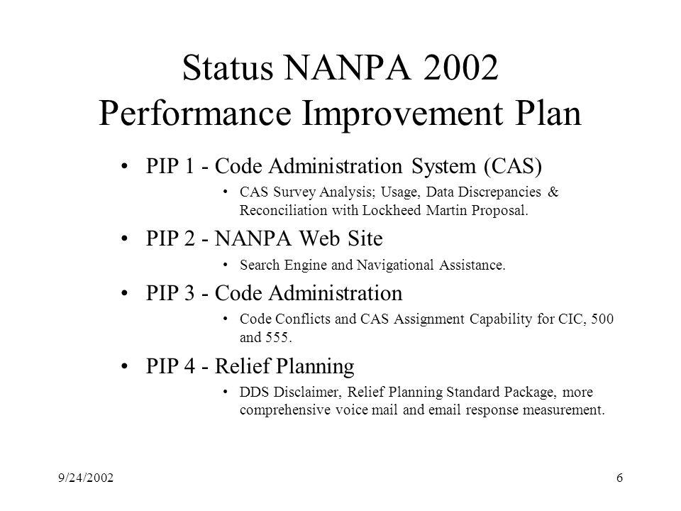 9/24/20026 Status NANPA 2002 Performance Improvement Plan PIP 1 - Code Administration System (CAS) CAS Survey Analysis; Usage, Data Discrepancies & Reconciliation with Lockheed Martin Proposal.