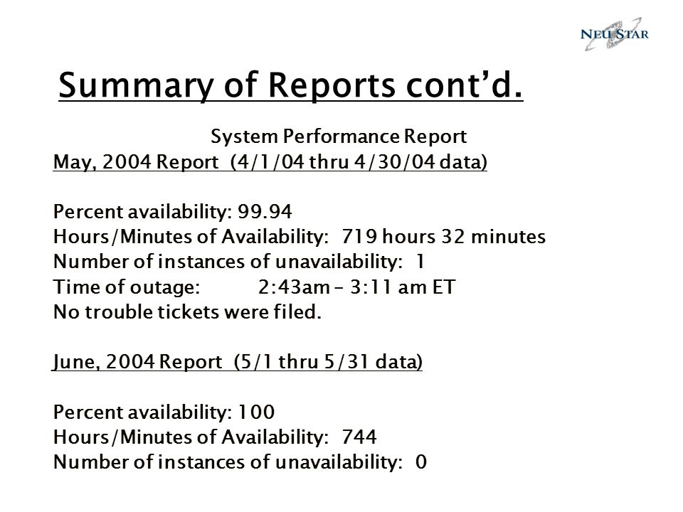 Summary of Reports contd.