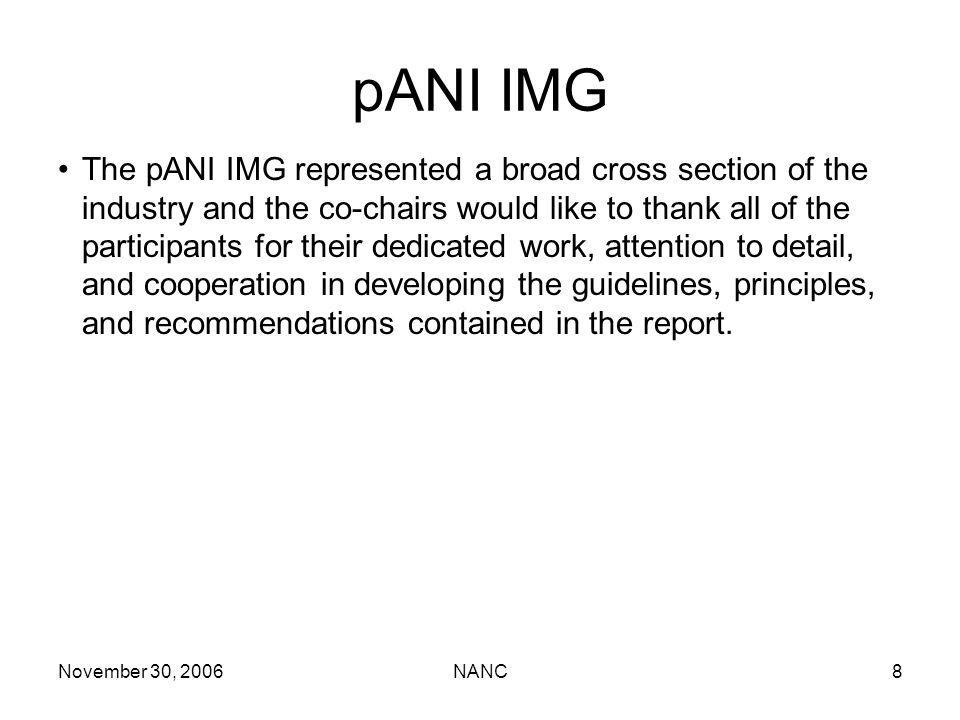 November 30, 2006NANC8 pANI IMG The pANI IMG represented a broad cross section of the industry and the co-chairs would like to thank all of the participants for their dedicated work, attention to detail, and cooperation in developing the guidelines, principles, and recommendations contained in the report.