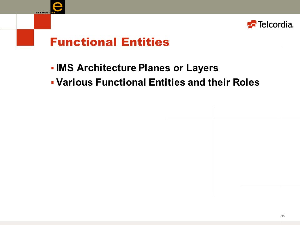 15 Functional Entities IMS Architecture Planes or Layers Various Functional Entities and their Roles