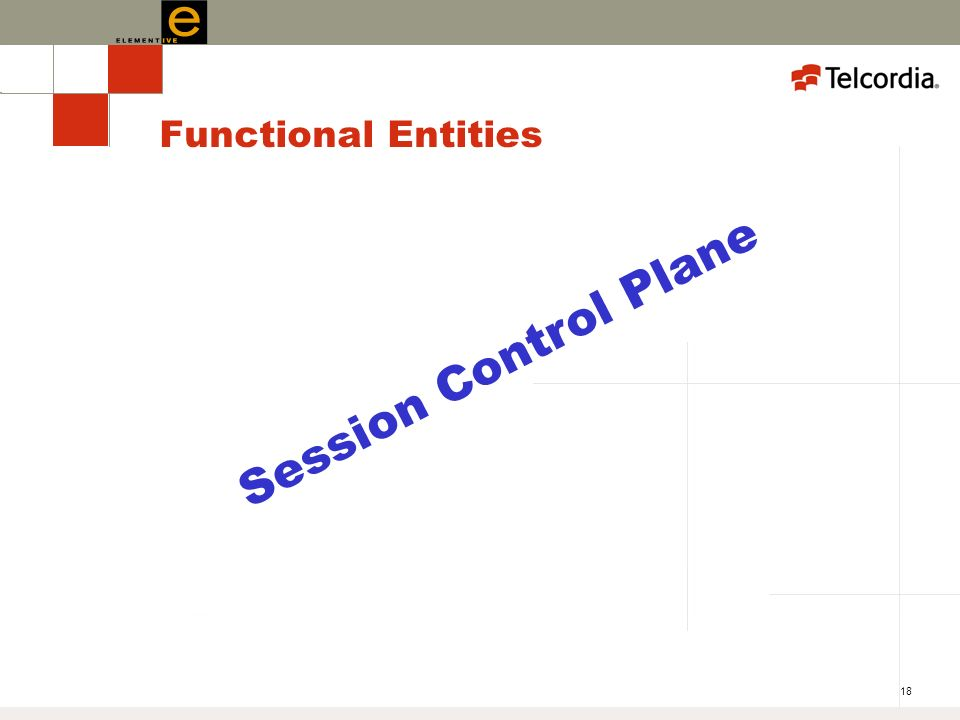 18 Functional Entities Session Control Plane
