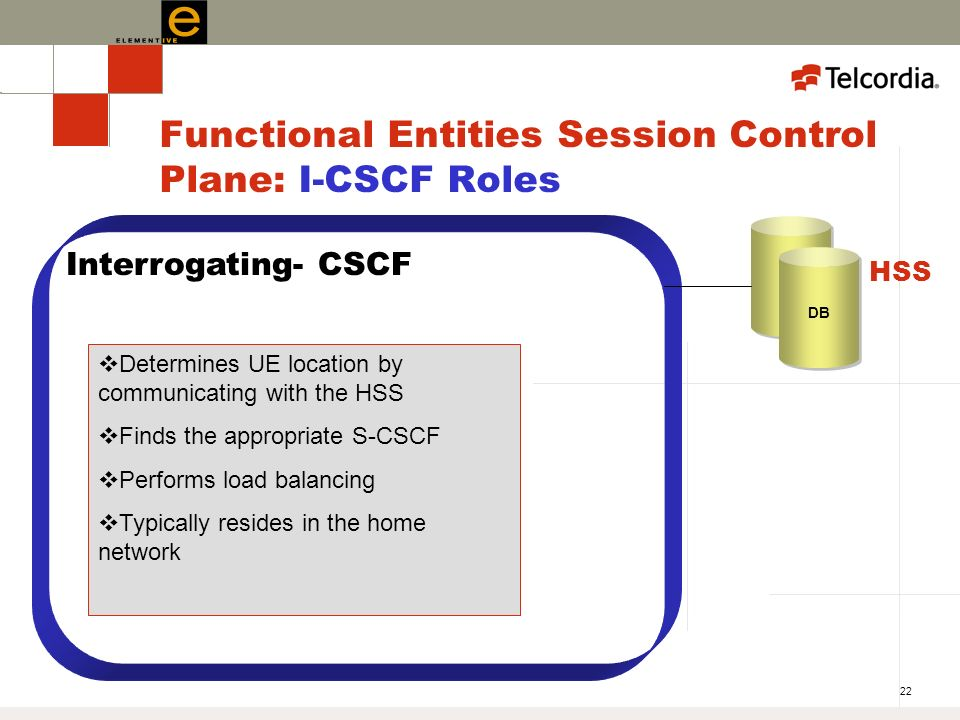 22 Functional Entities Session Control Plane: I-CSCF Roles Interrogating- CSCF Determines UE location by communicating with the HSS Finds the appropriate S-CSCF Performs load balancing Typically resides in the home network DB HSS