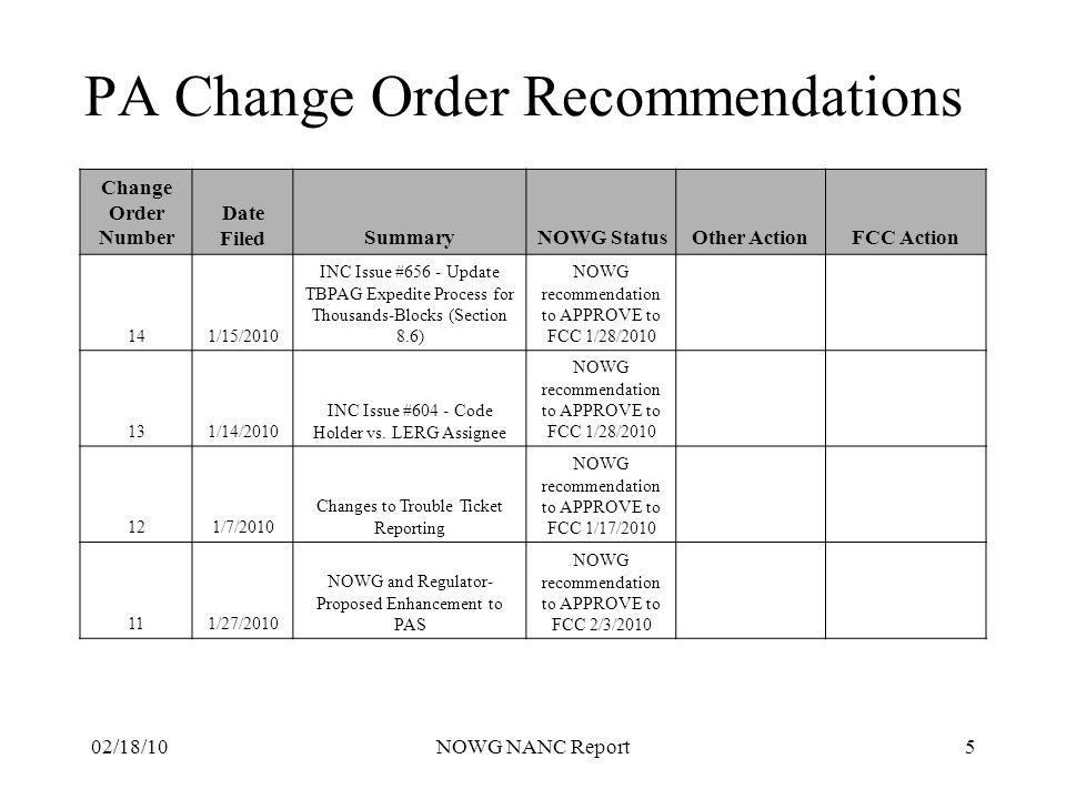 02/18/10NOWG NANC Report6 NOWG Participating Companies AT&T Cox Communications CenturyLink Qwest Sprint-Nextel T-Mobile USA Verizon Communications Verizon Wireless Windstream Communications XO Communications