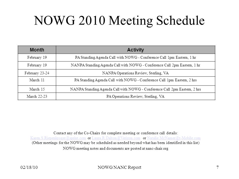 02/18/10NOWG NANC Report7 NOWG 2010 Meeting Schedule Contact any of the Co-Chairs for complete meeting or conference call details: Karen.S.Riepenkroge