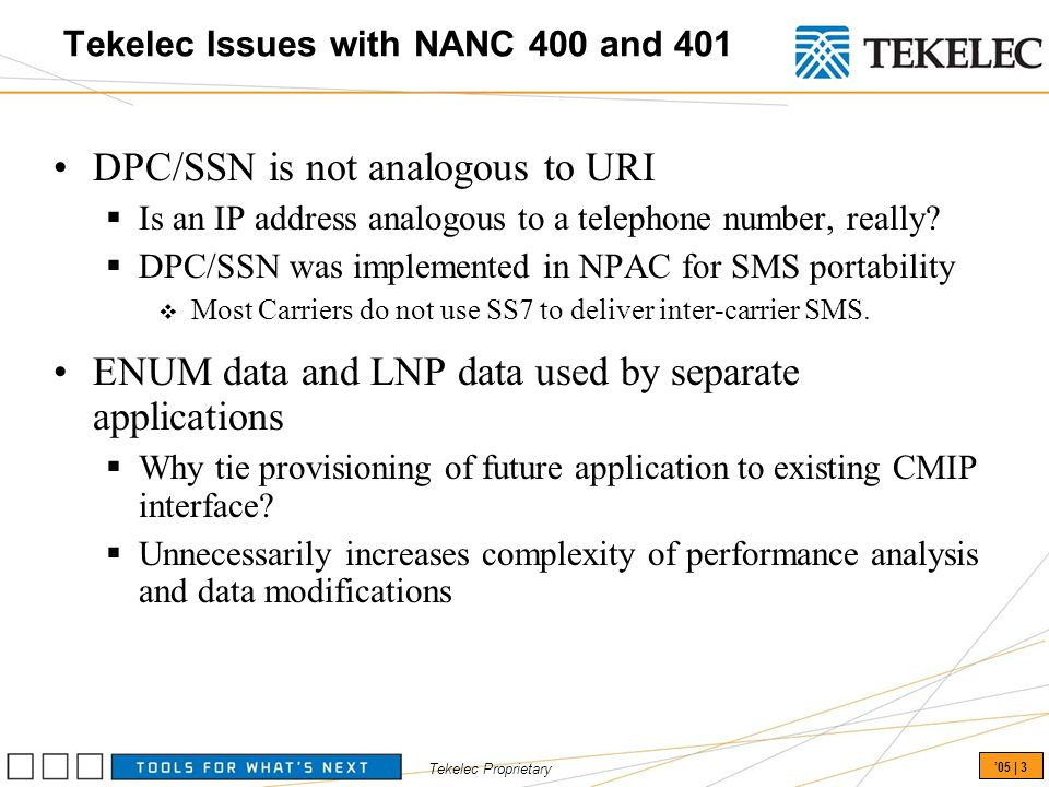 Tekelec Proprietary 05 | 3 Tekelec Issues with NANC 400 and 401 DPC/SSN is not analogous to URI Is an IP address analogous to a telephone number, really.