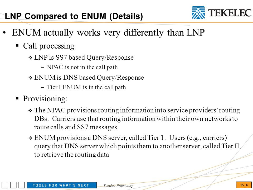 Tekelec Proprietary 05 | 6 LNP Compared to ENUM (Details) ENUM actually works very differently than LNP Call processing LNP is SS7 based Query/Response NPAC is not in the call path ENUM is DNS based Query/Response Tier I ENUM is in the call path Provisioning: The NPAC provisions routing information into service providers routing DBs.