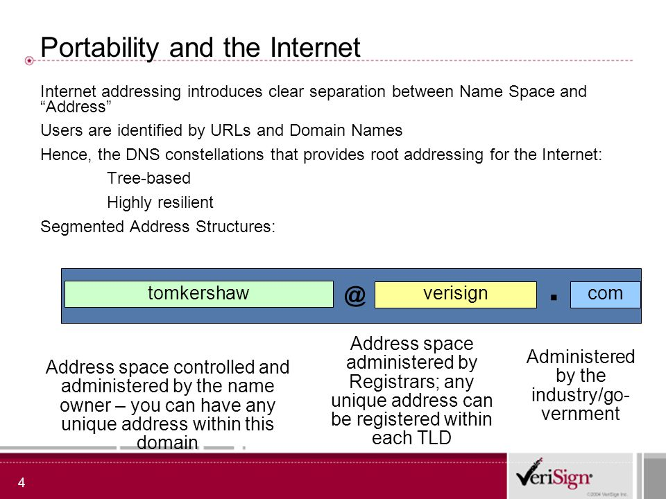 4 Portability and the Internet Internet addressing introduces clear separation between Name Space and Address Users are identified by URLs and Domain Names Hence, the DNS constellations that provides root addressing for the Internet: Tree-based Highly resilient Segmented Address Structures: tomkershaw verisign com @.