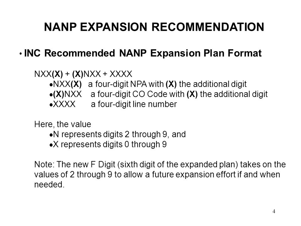 4 NANP EXPANSION RECOMMENDATION INC Recommended NANP Expansion Plan Format NXX(X) + (X)NXX + XXXX NXX(X) a four-digit NPA with (X) the additional digit (X)NXX a four-digit CO Code with (X) the additional digit XXXX a four-digit line number Here, the value N represents digits 2 through 9, and X represents digits 0 through 9 Note: The new F Digit (sixth digit of the expanded plan) takes on the values of 2 through 9 to allow a future expansion effort if and when needed.