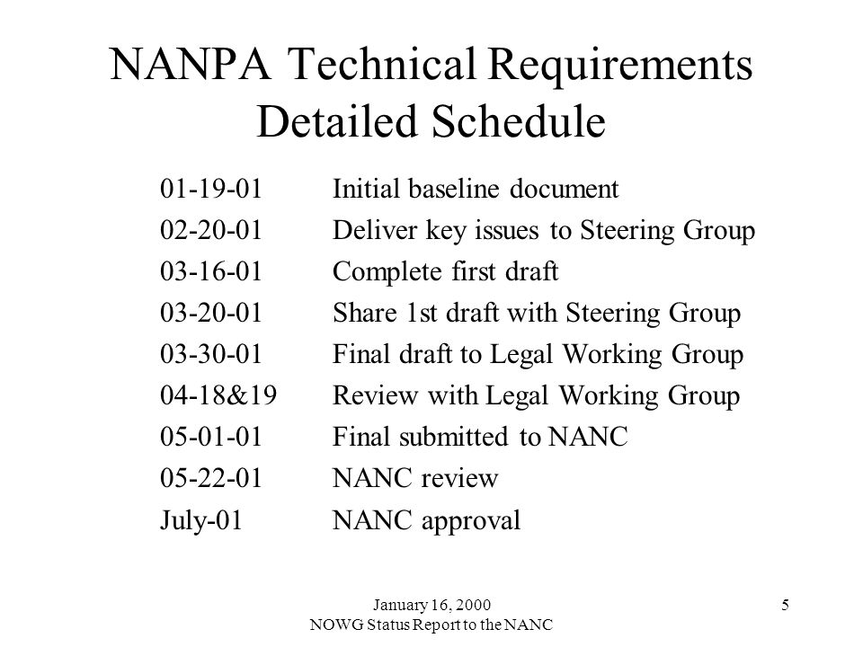 January 16, 2000 NOWG Status Report to the NANC 5 NANPA Technical Requirements Detailed Schedule 01-19-01Initial baseline document 02-20-01Deliver key issues to Steering Group 03-16-01Complete first draft 03-20-01Share 1st draft with Steering Group 03-30-01Final draft to Legal Working Group 04-18&19Review with Legal Working Group 05-01-01Final submitted to NANC 05-22-01NANC review July-01NANC approval