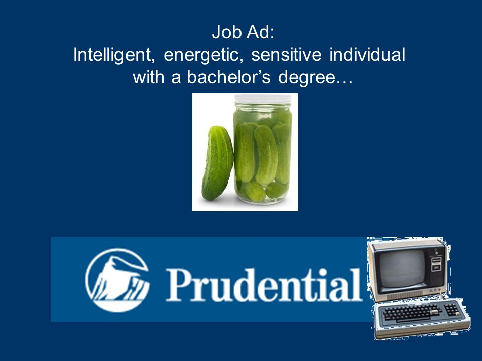 Job Ad: Intelligent, energetic, sensitive individual with a bachelors degree…