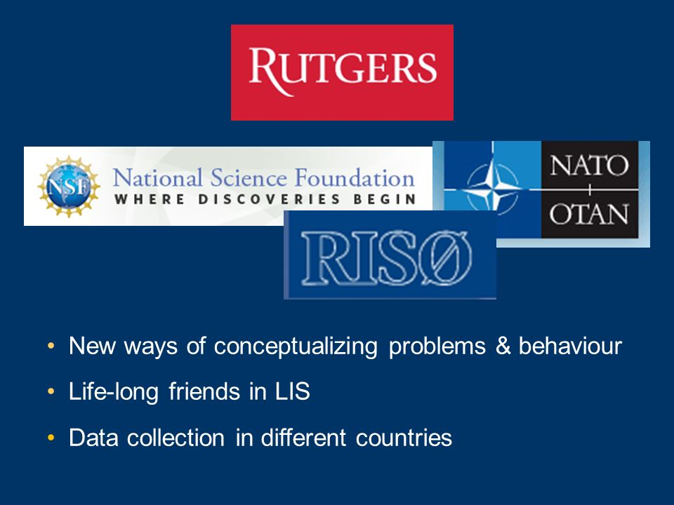 New ways of conceptualizing problems & behaviour Life-long friends in LIS Data collection in different countries