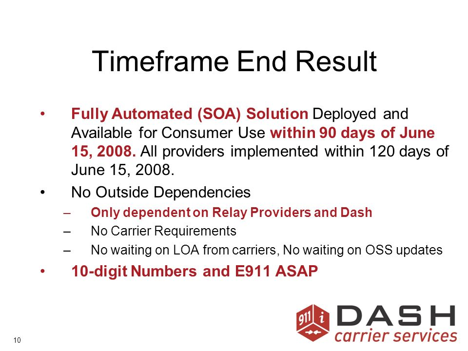 10 Timeframe End Result Fully Automated (SOA) Solution Deployed and Available for Consumer Use within 90 days of June 15, 2008.