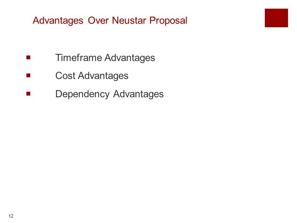 12 Advantages Over Neustar Proposal Timeframe Advantages Cost Advantages Dependency Advantages