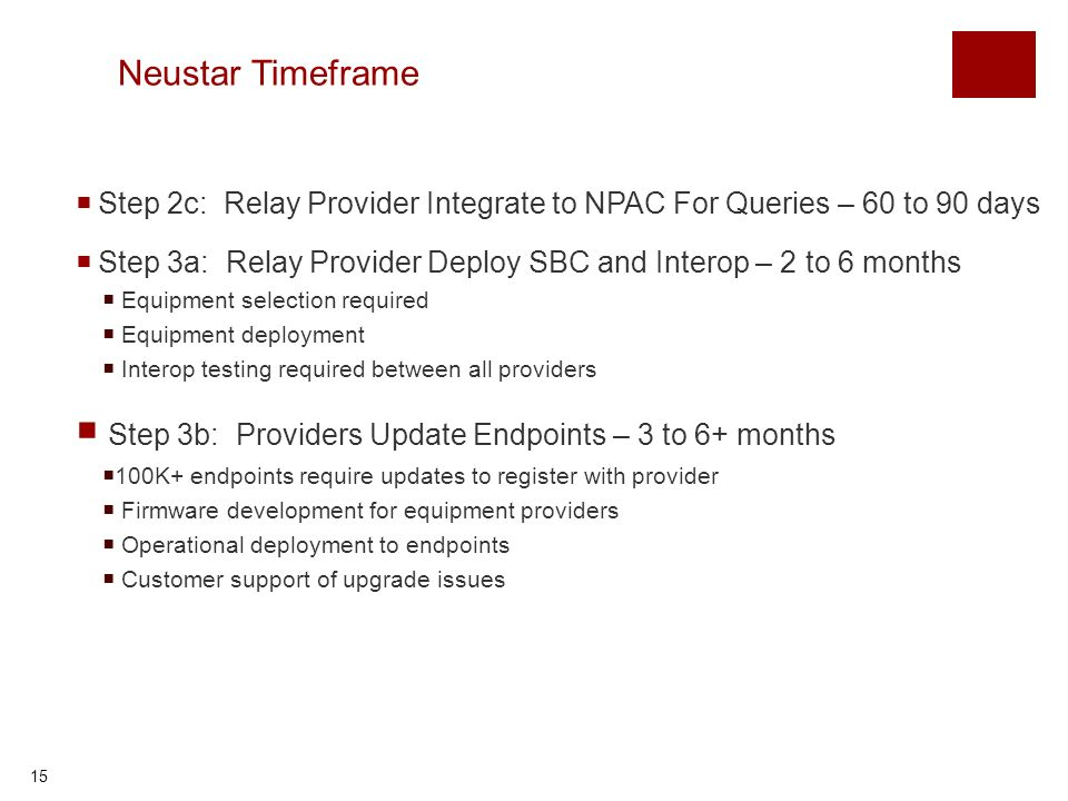 15 Neustar Timeframe Step 2c: Relay Provider Integrate to NPAC For Queries – 60 to 90 days Step 3a: Relay Provider Deploy SBC and Interop – 2 to 6 months Equipment selection required Equipment deployment Interop testing required between all providers Step 3b: Providers Update Endpoints – 3 to 6+ months 100K+ endpoints require updates to register with provider Firmware development for equipment providers Operational deployment to endpoints Customer support of upgrade issues