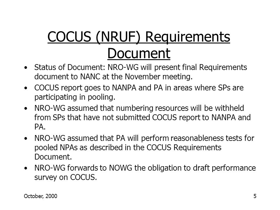 October, 20006 NRO-WG 2000 MEETING SCHEDULE Conference call times are Eastern; face-to-face meetings are local time.