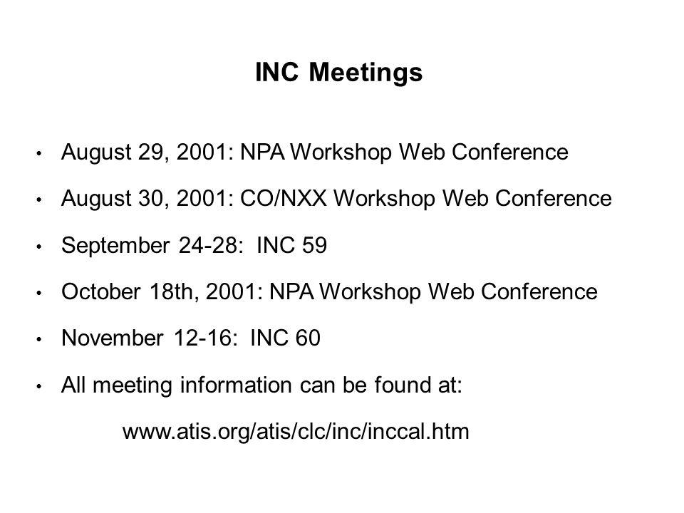INC Meetings August 29, 2001: NPA Workshop Web Conference August 30, 2001: CO/NXX Workshop Web Conference September 24-28: INC 59 October 18th, 2001: