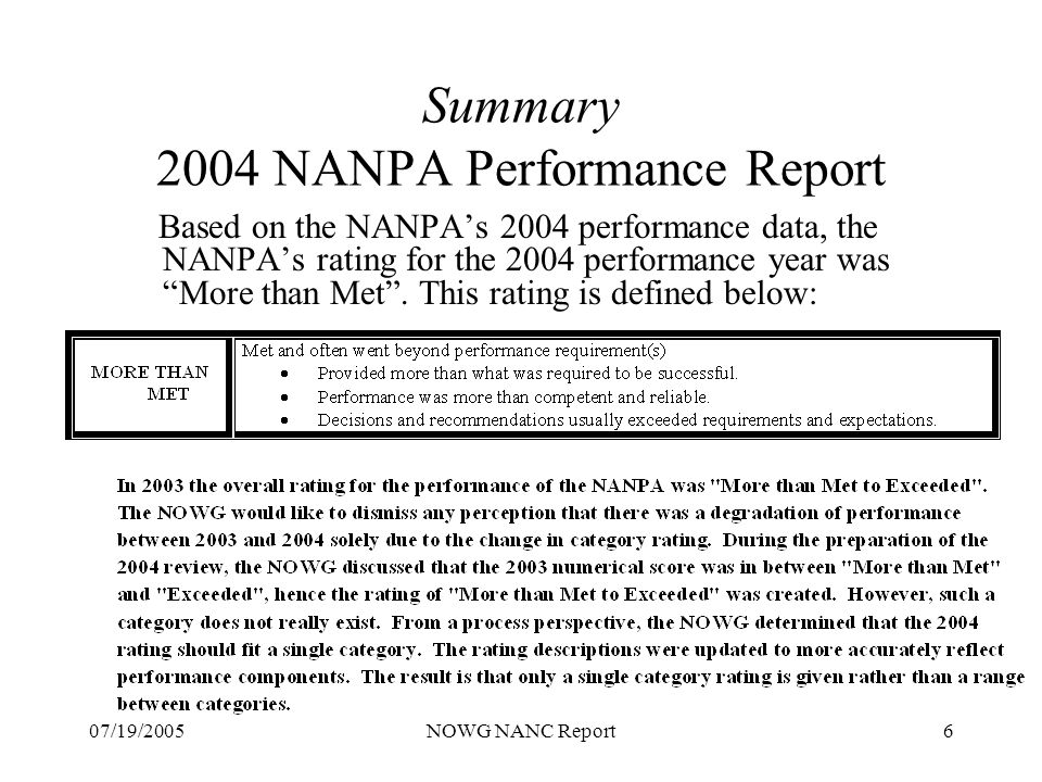07/19/2005NOWG NANC Report7 Summary - NOWG Observations 2004 NANPA Performance Report CO Code Administration (Section A) There were 12 questions in this section, which respondents provided ratings that were weighted in the Met and More than Met range.