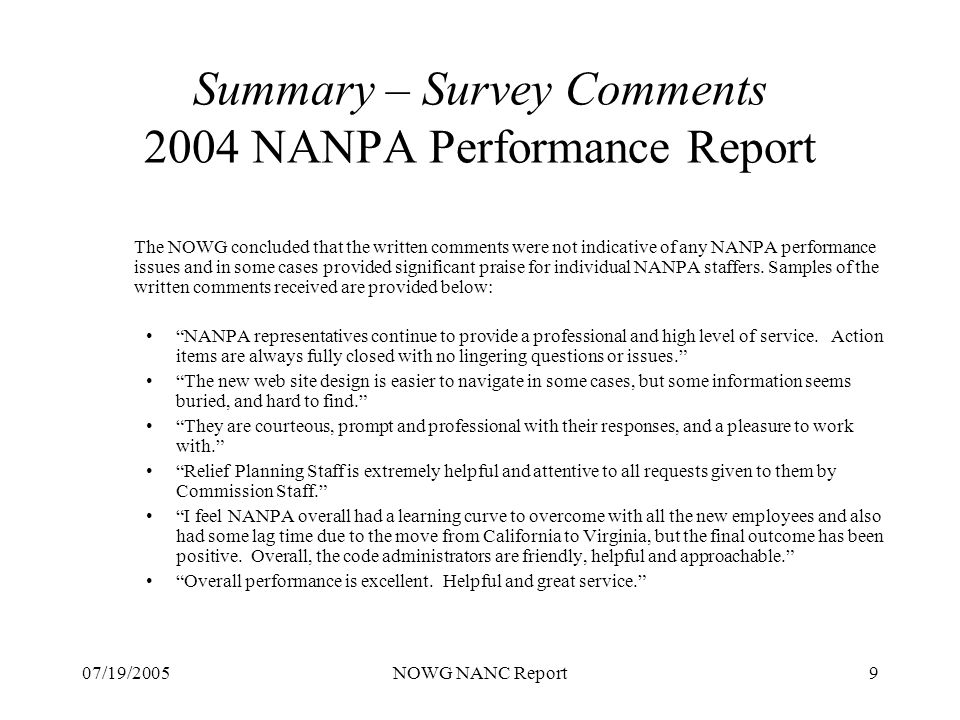 07/19/2005NOWG NANC Report20 PA Technical Requirements Document Status: Completed!