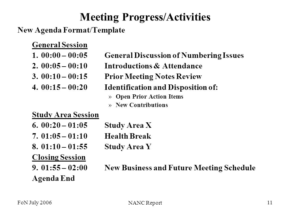 FoN July 2006 NANC Report 11 Meeting Progress/Activities New Agenda Format/Template General Session 1.00:00 – 00:05General Discussion of Numbering Issues 2.00:05 – 00:10Introductions & Attendance 3.00:10 – 00:15Prior Meeting Notes Review 4.00:15 – 00:20Identification and Disposition of: »Open Prior Action Items »New Contributions Study Area Session 6.00:20 – 01:05Study Area X 7.01:05 – 01:10Health Break 8.01:10 – 01:55Study Area Y Closing Session 9.01:55 – 02:00New Business and Future Meeting Schedule Agenda End