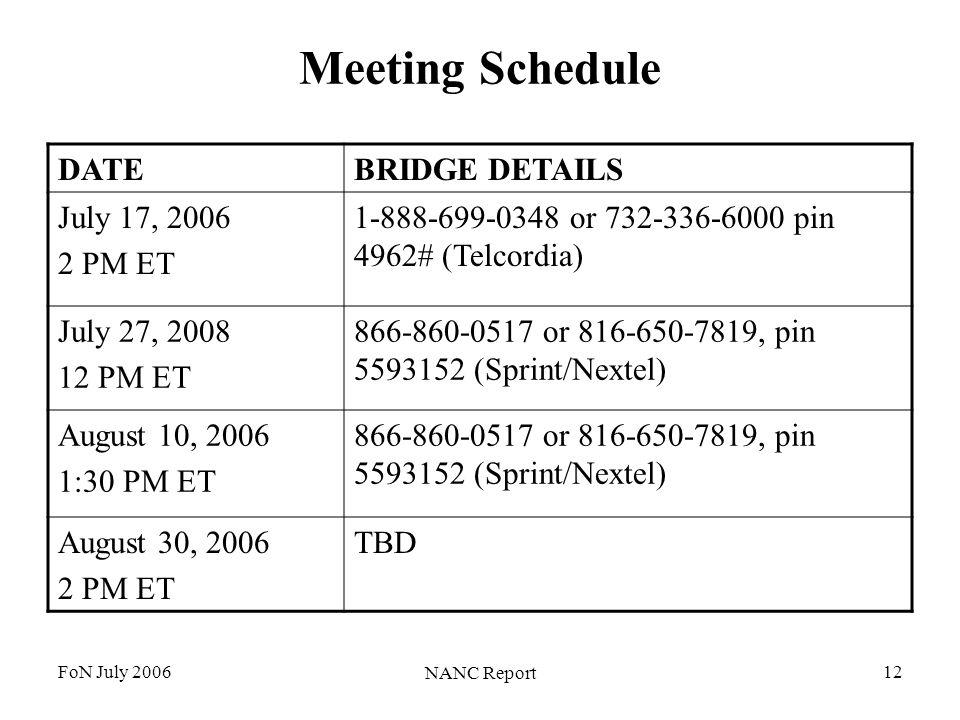 FoN July 2006 NANC Report 12 Meeting Schedule DATEBRIDGE DETAILS July 17, 2006 2 PM ET 1-888-699-0348 or 732-336-6000 pin 4962# (Telcordia) July 27, 2