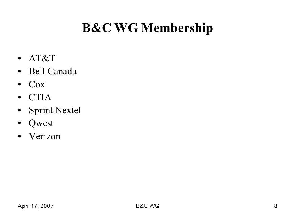 April 17, 2007B&C WG8 B&C WG Membership AT&T Bell Canada Cox CTIA Sprint Nextel Qwest Verizon