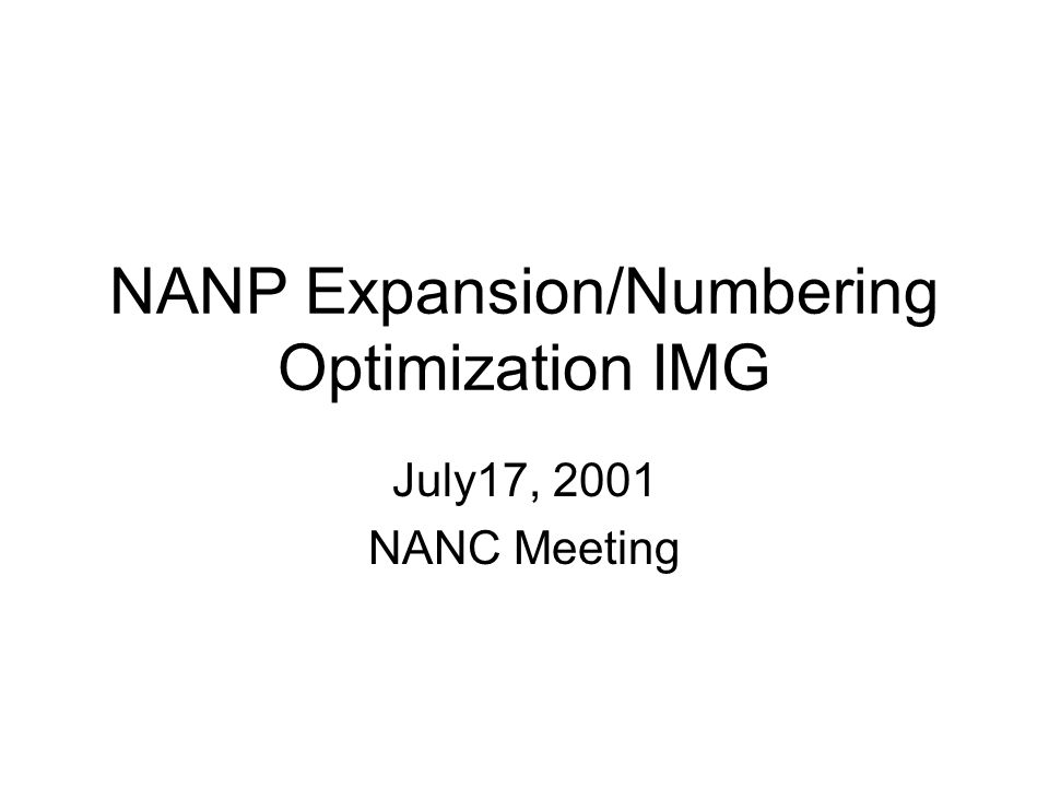 Status Mission Review Completed review of the Basic Description of each number optimization option NANPA analysis for 10-digit dialing option by September 2001 Explanation of 2001 Exhaust Projection Methodology provided by NANPA Matrix of Optimization Measures Timeline Review