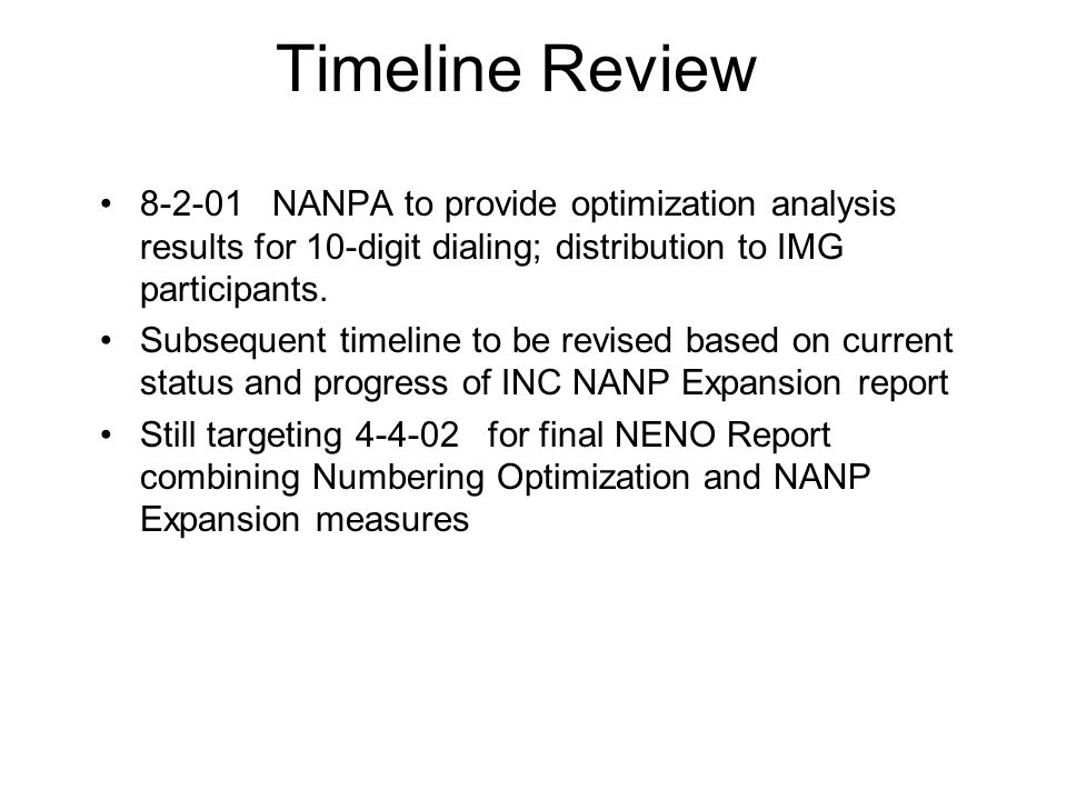 Timeline Review 8-2-01 NANPA to provide optimization analysis results for 10-digit dialing; distribution to IMG participants.