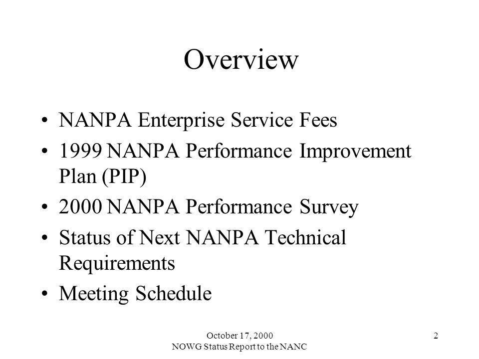 October 17, 2000 NOWG Status Report to the NANC 2 Overview NANPA Enterprise Service Fees 1999 NANPA Performance Improvement Plan (PIP) 2000 NANPA Performance Survey Status of Next NANPA Technical Requirements Meeting Schedule