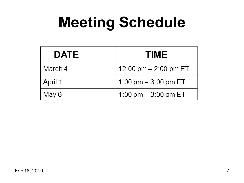 77 Meeting Schedule DATETIME March 412:00 pm – 2:00 pm ET April 11:00 pm – 3:00 pm ET May 61:00 pm – 3:00 pm ET Feb 18, 20107