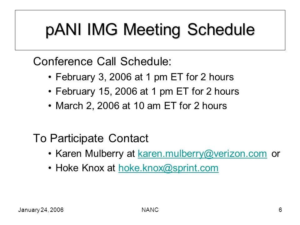January 24, 2006NANC6 pANI IMG Meeting Schedule Conference Call Schedule: February 3, 2006 at 1 pm ET for 2 hours February 15, 2006 at 1 pm ET for 2 h