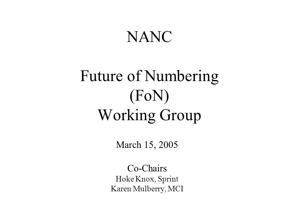NANC Future of Numbering (FoN) Working Group March 15, 2005 Co-Chairs Hoke Knox, Sprint Karen Mulberry, MCI