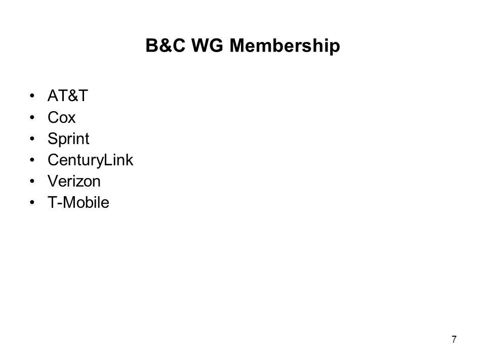 B&C WG Membership AT&T Cox Sprint CenturyLink Verizon T-Mobile 7