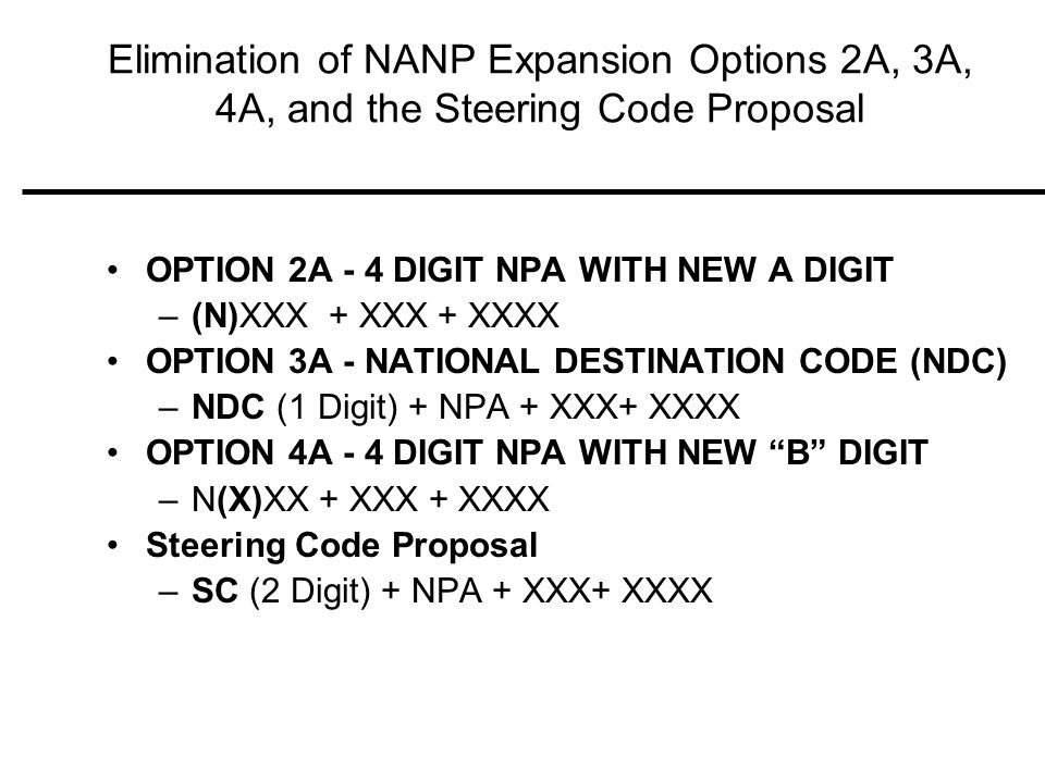 Elimination of NANP Expansion Options 2A, 3A, 4A, and the Steering Code Proposal OPTION 2A - 4 DIGIT NPA WITH NEW A DIGIT –(N)XXX + XXX + XXXX OPTION 3A - NATIONAL DESTINATION CODE (NDC) –NDC (1 Digit) + NPA + XXX+ XXXX OPTION 4A - 4 DIGIT NPA WITH NEW B DIGIT –N(X)XX + XXX + XXXX Steering Code Proposal –SC (2 Digit) + NPA + XXX+ XXXX