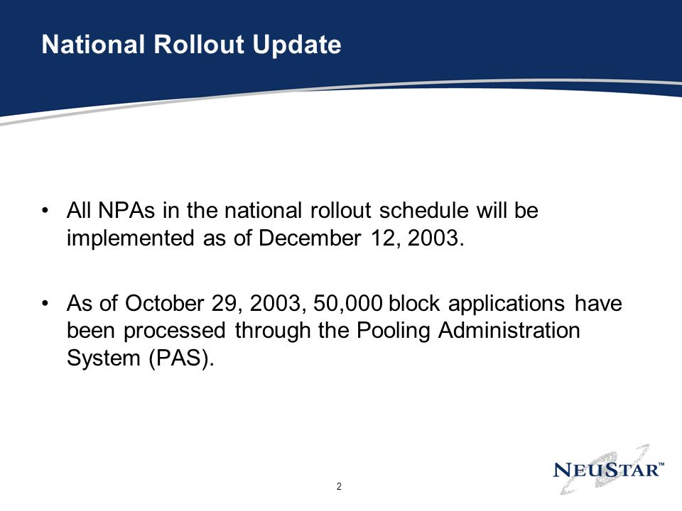 2 National Rollout Update All NPAs in the national rollout schedule will be implemented as of December 12, 2003.
