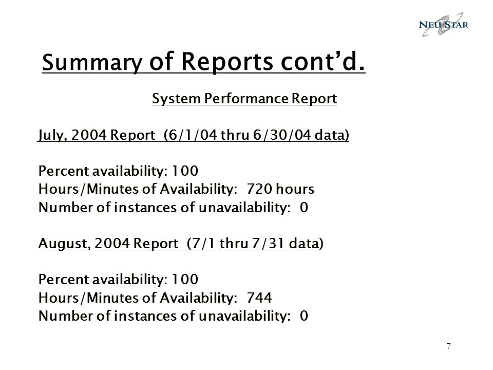 7 Summary of Reports contd.