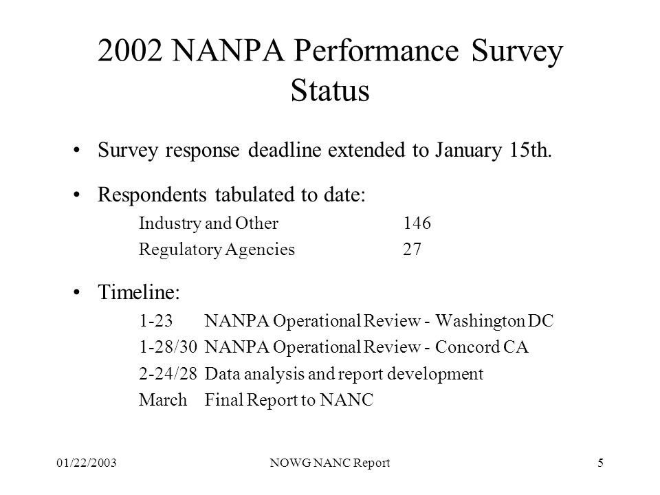 01/22/2003NOWG NANC Report5 2002 NANPA Performance Survey Status Survey response deadline extended to January 15th.