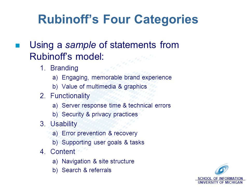 SCHOOL OF INFORMATION UNIVERSITY OF MICHIGAN Rubinoffs Four Categories Using a sample of statements from Rubinoffs model: 1.Branding a)Engaging, memorable brand experience b)Value of multimedia & graphics 2.Functionality a)Server response time & technical errors b)Security & privacy practices 3.Usability a)Error prevention & recovery b)Supporting user goals & tasks 4.Content a)Navigation & site structure b)Search & referrals