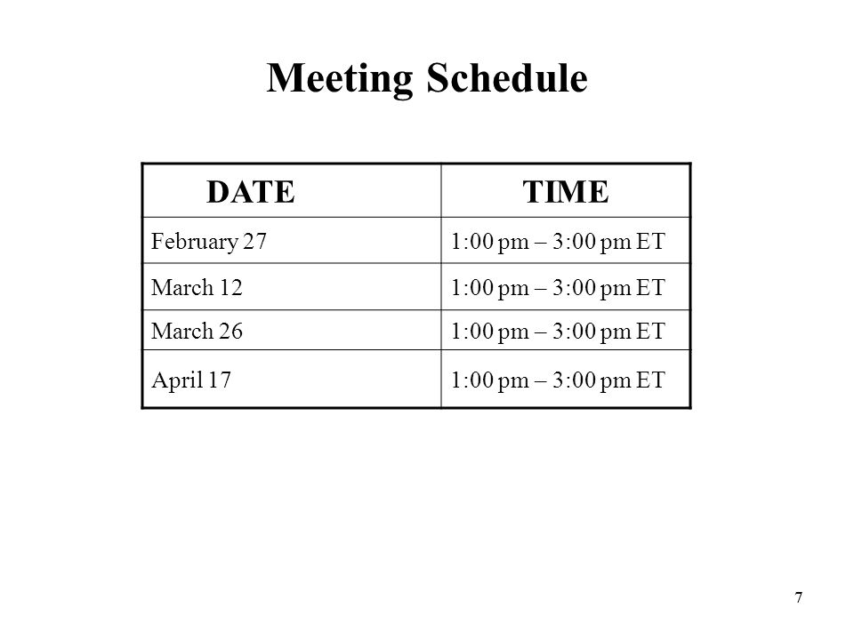 77 Meeting Schedule DATETIME February 271:00 pm – 3:00 pm ET March 121:00 pm – 3:00 pm ET March 261:00 pm – 3:00 pm ET April 171:00 pm – 3:00 pm ET