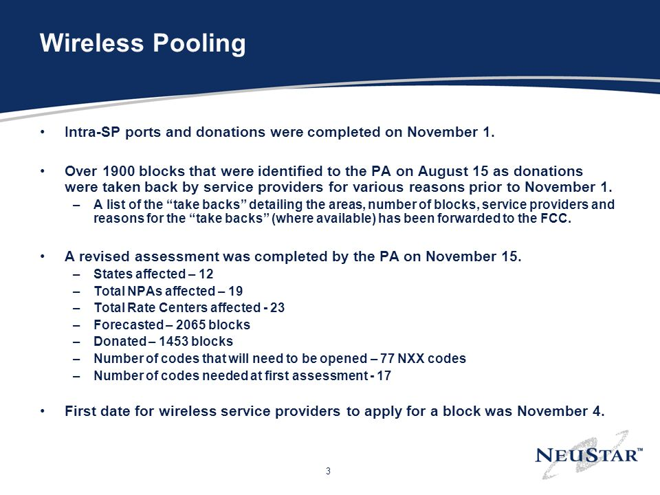 3 Wireless Pooling Intra-SP ports and donations were completed on November 1.