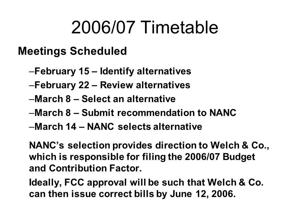 2006/07 Timetable Meetings Scheduled –February 15 – Identify alternatives –February 22 – Review alternatives –March 8 – Select an alternative –March 8 – Submit recommendation to NANC –March 14 – NANC selects alternative NANCs selection provides direction to Welch & Co., which is responsible for filing the 2006/07 Budget and Contribution Factor.