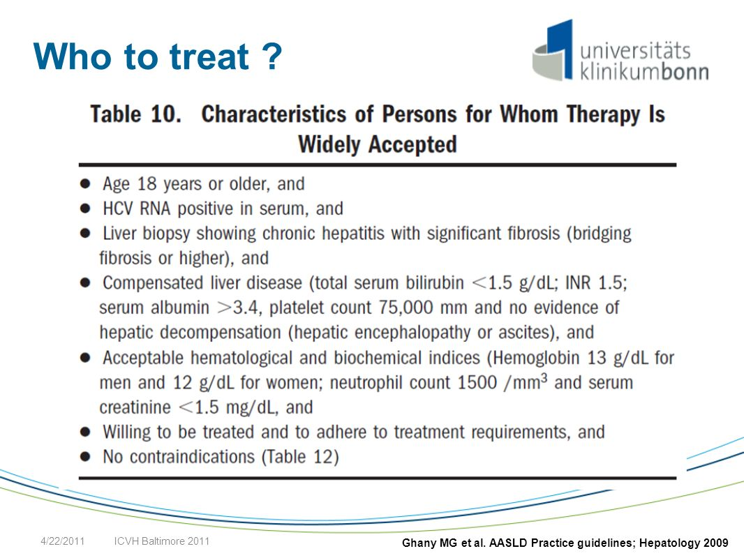 Who to treat ? 4/22/2011ICVH Baltimore 2011 Ghany MG et al. AASLD Practice guidelines; Hepatology 2009