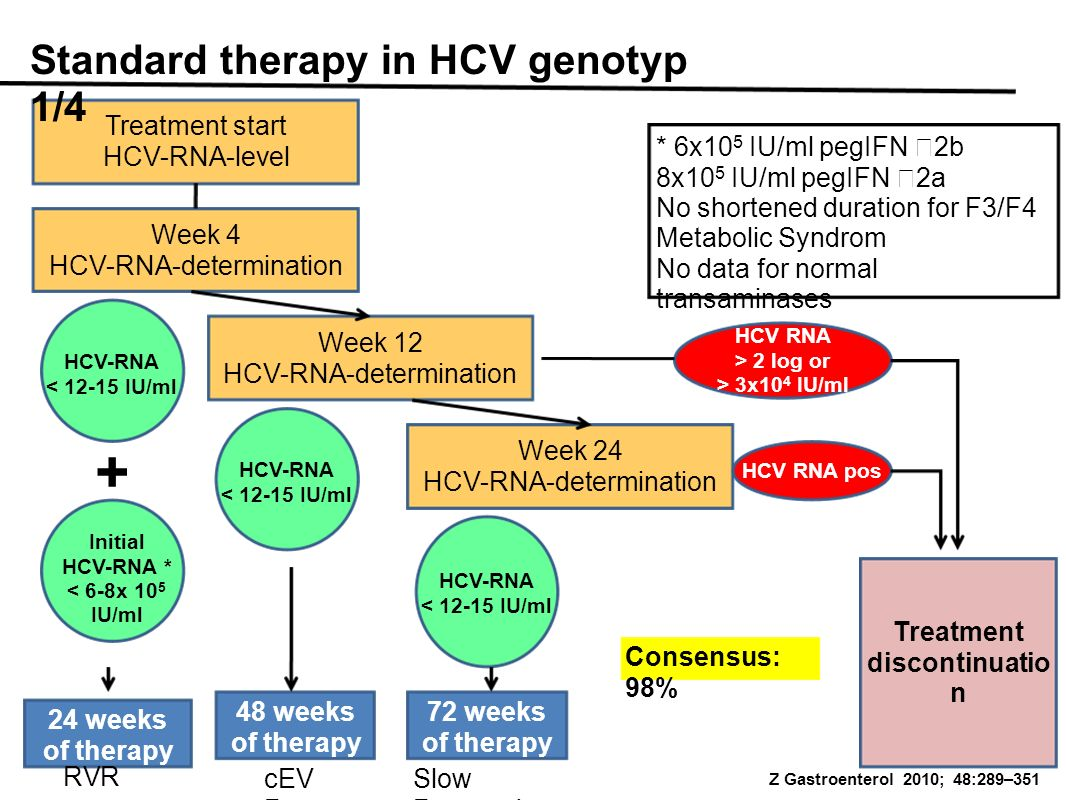 Treatment start HCV-RNA-level Standard therapy in HCV genotyp 1/4 Week 4 HCV-RNA-determination Week 12 HCV-RNA-determination Week 24 HCV-RNA-determination Treatment discontinuatio n HCV-RNA < 12-15 IU/ml HCV-RNA < 12-15 IU/ml HCV-RNA < 12-15 IU/ml HCV RNA > 2 log or > 3x10 4 IU/ml HCV RNA pos Initial HCV-RNA * < 6-8x 10 5 IU/ml + 24 weeks of therapy 48 weeks of therapy 72 weeks of therapy RVR cEV R Slow Responder * 6x10 5 IU/ml pegIFN 2b 8x10 5 IU/ml pegIFN 2a No shortened duration for F3/F4 Metabolic Syndrom No data for normal transaminases Consensus: 98% Z Gastroenterol 2010; 48:289–351