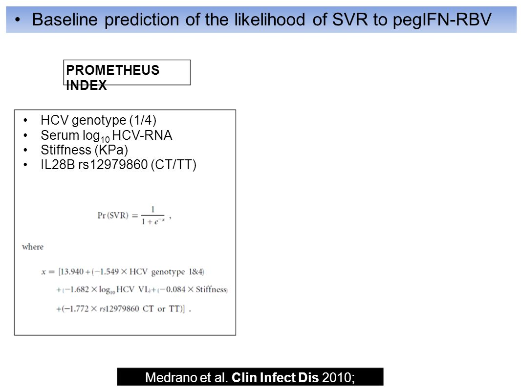 Baseline prediction of the likelihood of SVR to pegIFN-RBV Medrano et al.
