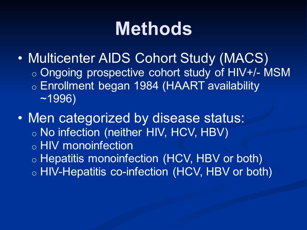 Methods Multicenter AIDS Cohort Study (MACS) o Ongoing prospective cohort study of HIV+/- MSM o Enrollment began 1984 (HAART availability ~1996) Men c