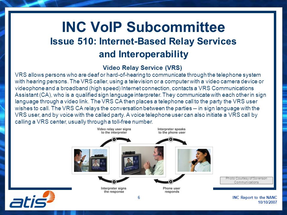 INC Report to the NANC 10/10/ INC VoIP Subcommittee Issue 510: Internet-Based Relay Services and Interoperability Video Relay Service (VRS) VRS allows persons who are deaf or hard-of-hearing to communicate through the telephone system with hearing persons.