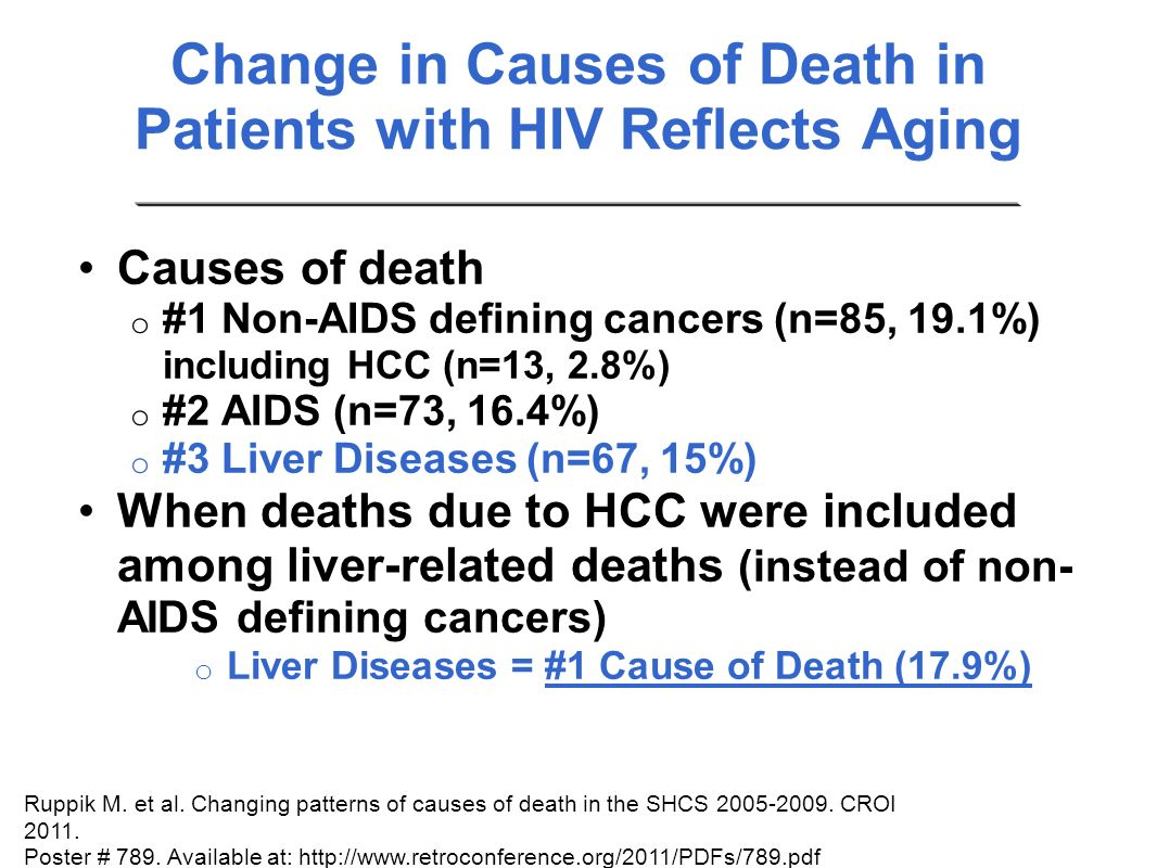 Change in Causes of Death in Patients with HIV Reflects Aging Causes of death o #1 Non-AIDS defining cancers (n=85, 19.1%) including HCC (n=13, 2.8%)