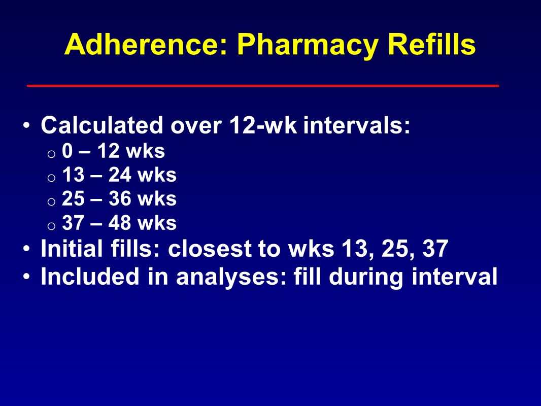 Adherence: Pharmacy Refills Calculated over 12-wk intervals: o 0 – 12 wks o 13 – 24 wks o 25 – 36 wks o 37 – 48 wks Initial fills: closest to wks 13, 25, 37 Included in analyses: fill during interval